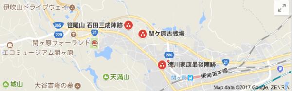 関ケ原周辺地図