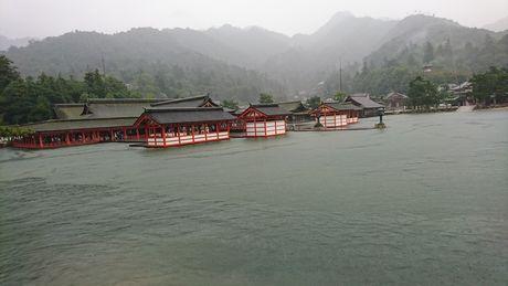 厳島神社 満潮で海面すれすれ