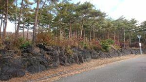 道の駅なるさわの駐車場の溶岩