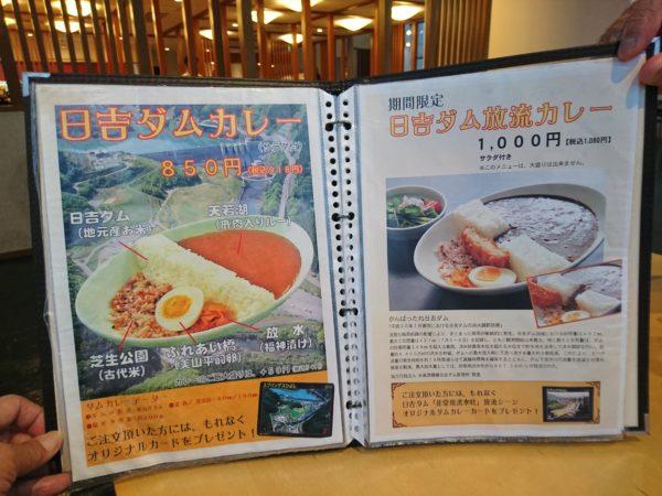 道の駅スプリングスひよし レストラン ダムカレーメニュー