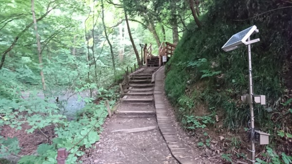 青池への階段