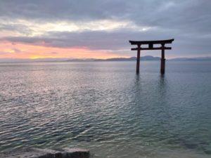 白髭神社 湖中大鳥居の日の出